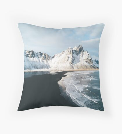 Iceland beach at sunset - Landscape Photography Throw Pillow