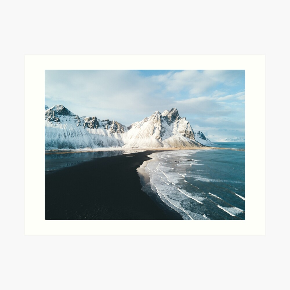Playa de Islandia al atardecer - Fotografía de paisaje Lámina artística
