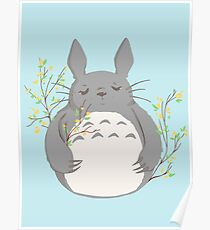 Totoro with Soot Sprites Poster