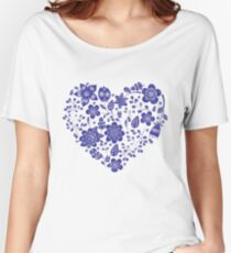 violet floral heart Women's Relaxed Fit T-Shirt