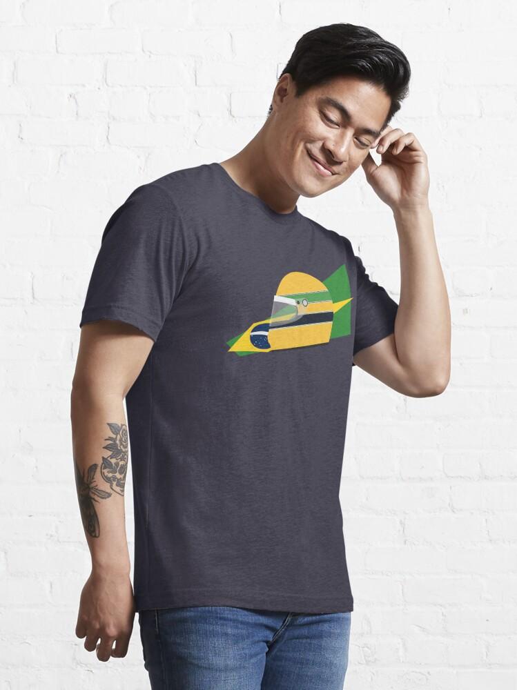 Alternate view of 80s Brazilian racing driver helmet Essential T-Shirt