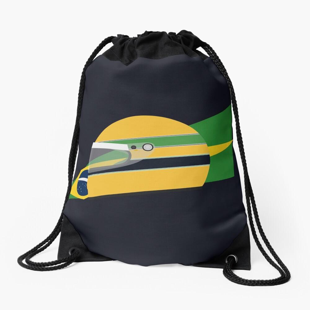 80s Brazilian racing driver helmet Drawstring Bag
