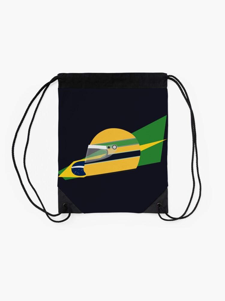 Alternate view of 80s Brazilian racing driver helmet Drawstring Bag