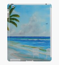 Two White Adirondack Chairs Sitting On The Beach iPad Case/Skin