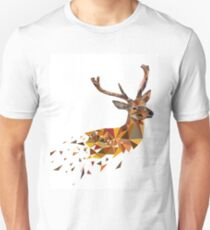 Multicolor deer head with horns in polygonal style Unisex T-Shirt
