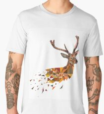 Multicolor deer head with horns in polygonal style Men's Premium T-Shirt