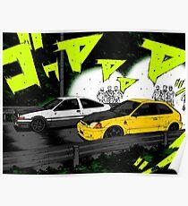 Initial D Civic vs AE86 Poster