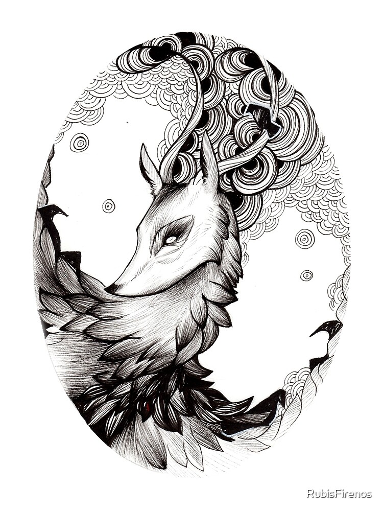 BLACK AND WHITE DEER by RubisFirenos
