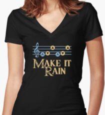 Make It Rain Zelda Inspired Design Women's Fitted V-Neck T-Shirt