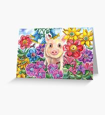Penelope Pig Greeting Card
