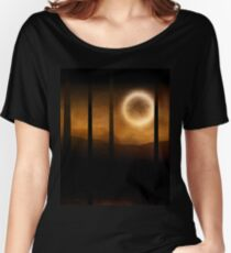 Dark forest in orange mist and full moon Women's Relaxed Fit T-Shirt