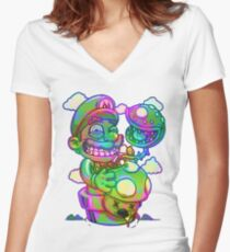 Trippy Mario Women's Fitted V-Neck T-Shirt