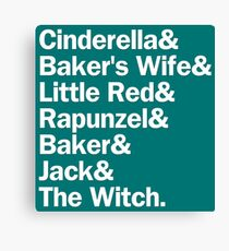 Into the Woods Characters | Blue/Gold Canvas Print