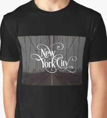 Brooklyn Bridge New York City Skyline Vintage Retro Photography Text Design Graphic T-Shirt