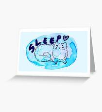 Sleepy Watercolor Kitty Greeting Card