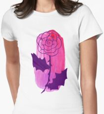 Pink Rose Watercolor Womens Fitted T-Shirt