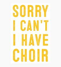 sorry i cant i have choir Photographic Print