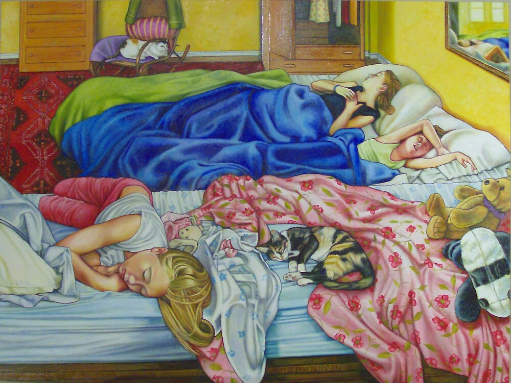 Sleeping Girls with Cats by Eleanor Day