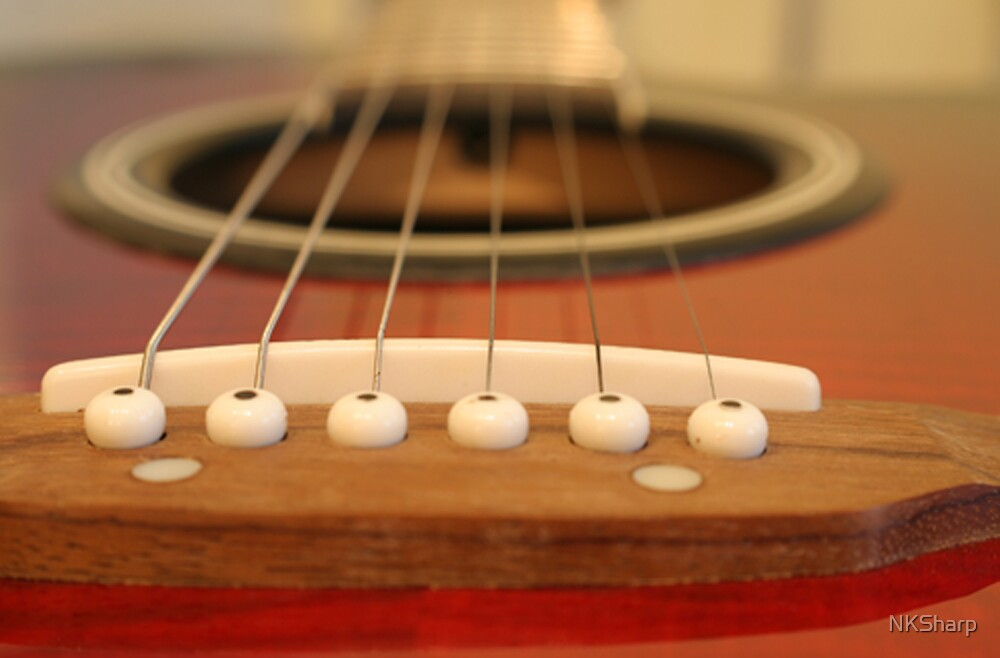 Close up of classical guitar looking down the neck by NKSharp