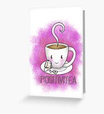 Tarjeta de felicitación PositiviTEA - Whimsical Smiling Tea Cup en rosa