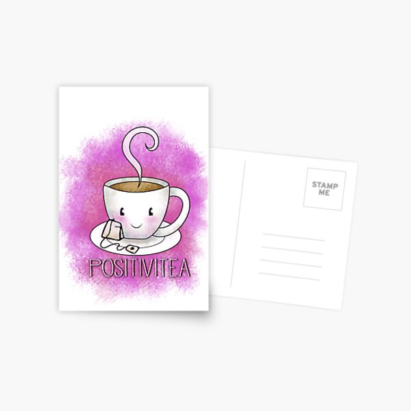 PositiviTEA - Whimsical Smiling Tea Cup in Pink Postcard