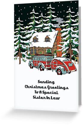 Sister In Law Sending Christmas Greetings Card by Gear4Gearheads