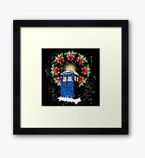 A WARM & COMFORTABLE TARDIS IN THE SNOWSTORM  Framed Print