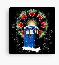 A WARM & COMFORTABLE TARDIS IN THE SNOWSTORM  Canvas Print
