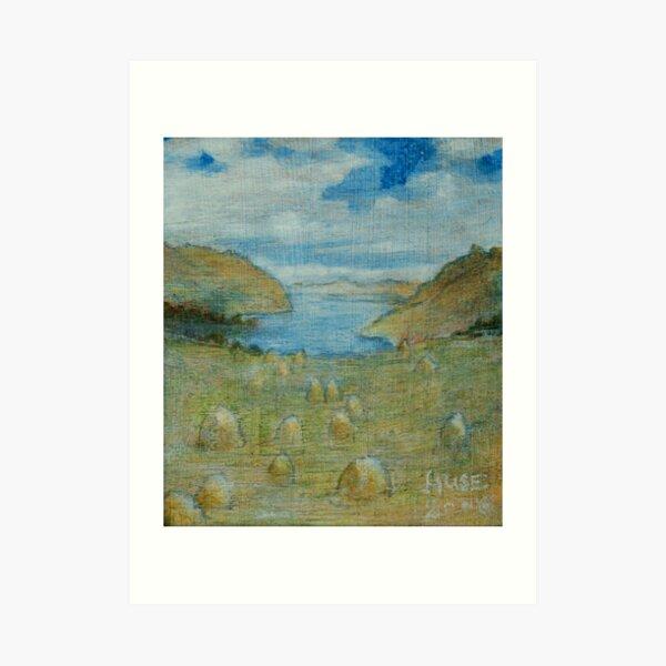 Haystacks enjoying the View, 2 Art Print