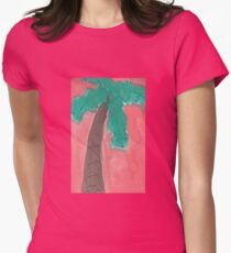 Dreamy Palm Trees Watercolor Womens Fitted T-Shirt