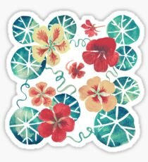Watercolor Nasturtiums: In the Still of the Night Sticker