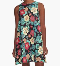 Watercolor Nasturtiums: In the Still of the Night A-Line Dress