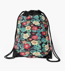 Watercolor Garden Nasturtiums. Dark Floral Pattern Drawstring Bag