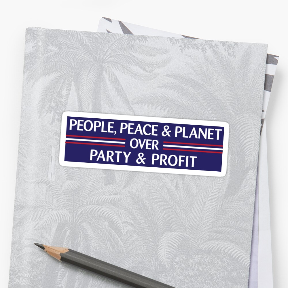 People, Peace & Planet (Blue) Sticker