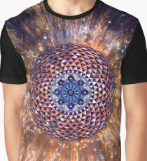 Handpan Fractal Mandala Blue Space Explosion Graphic T-Shirt