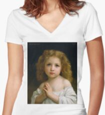 LITTLE GIRL: by William Adolphe Bouguereau 1878 Women's Fitted V-Neck T-Shirt