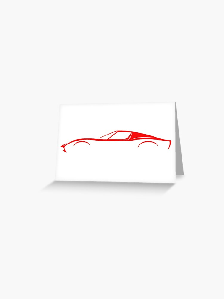 Lamborghini Miura Red Silhouette Greeting Card By Supercarshirts