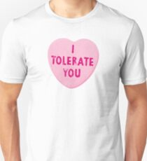I Tolerate You Valentine's Day Heart Candy Slim Fit T-Shirt