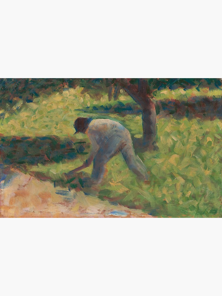 Peasant with a Hoe Oil Painting by Georges Seurat by podartist