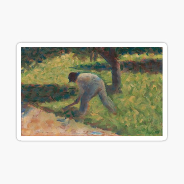 Peasant with a Hoe Oil Painting by Georges Seurat Sticker