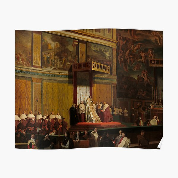 Pope Pius VII in the Sistine Chapel Oil Painting by Jean-Auguste-Dominique Ingres Poster