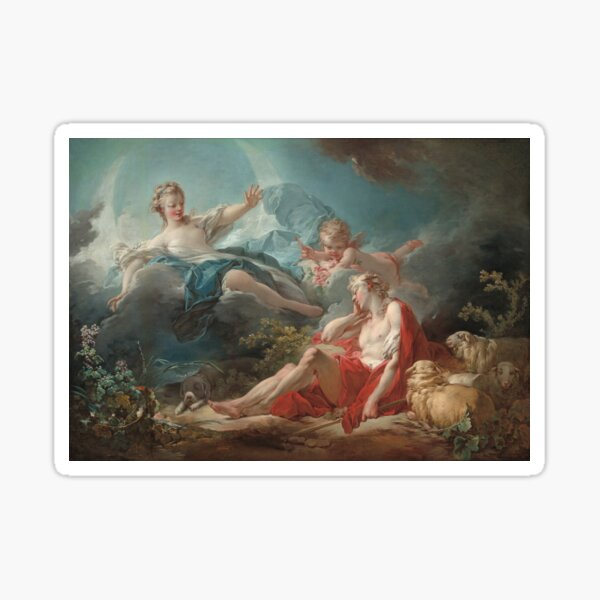 Diana and Endymion Oil Painting by Jean-Honoré Fragonard Sticker