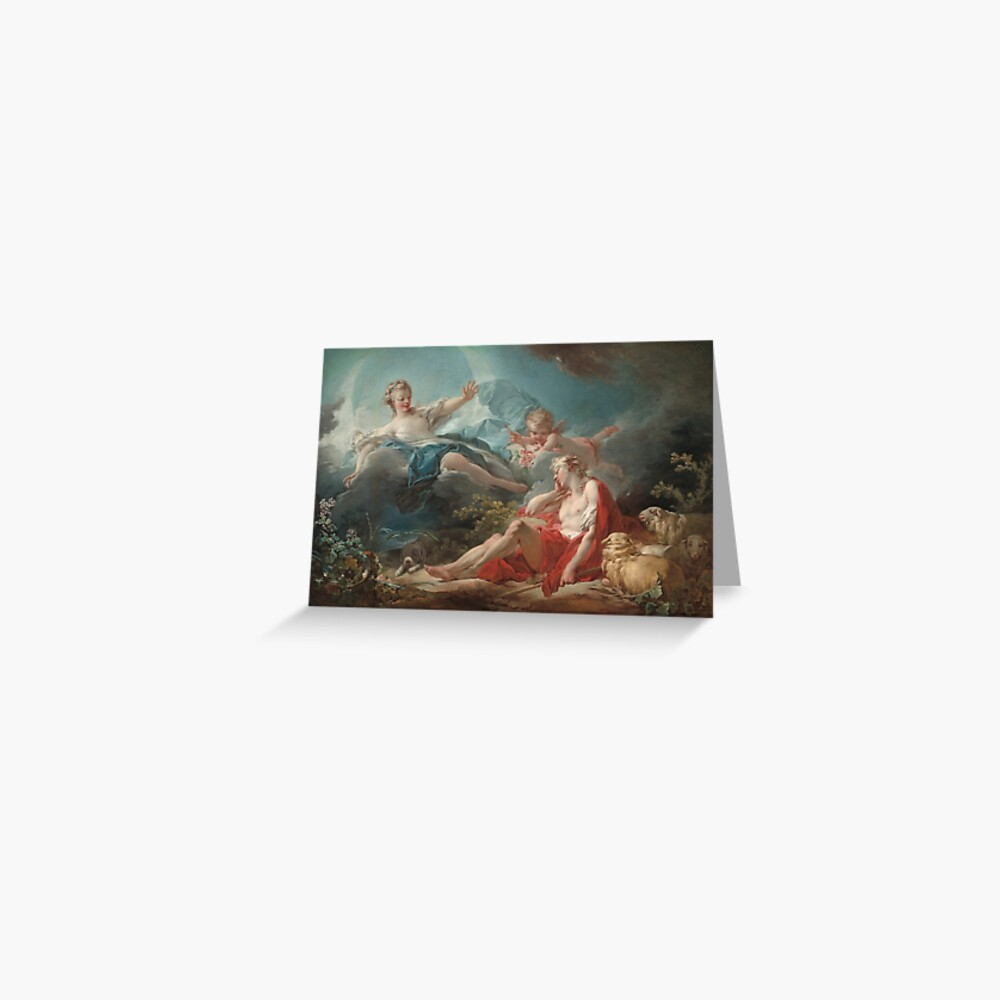 Diana and Endymion Oil Painting by Jean-Honoré Fragonard Greeting Card