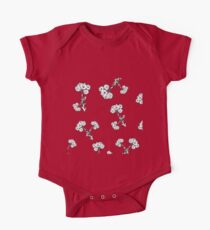 White Flowers on Deep Green Background One Piece - Short Sleeve