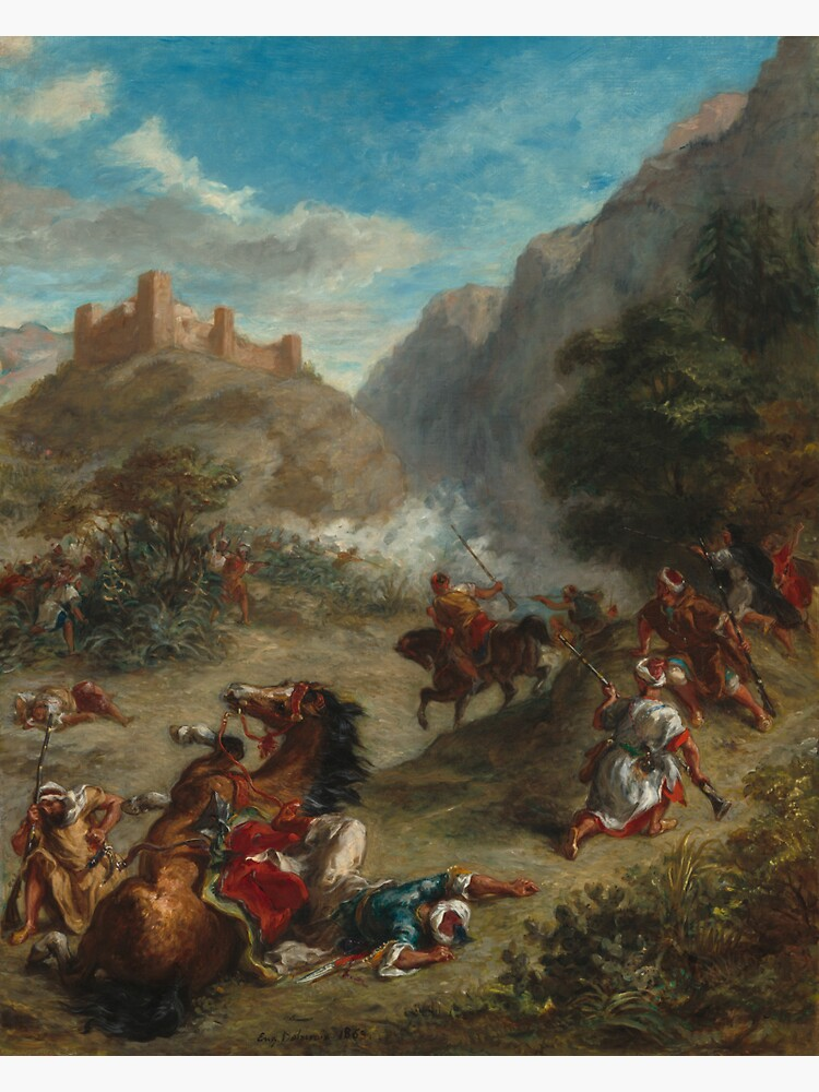 Arabs Skirmishing in the Mountains Oil Painting by Eugène Delacroix by podartist