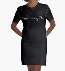 Keep Moving Stan - White Graphic T-Shirt Dress