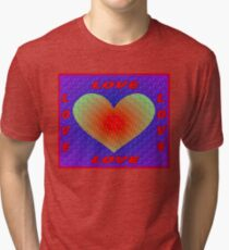 LOVE: Abstract Whimsical Heart Print Tri-blend T-Shirt
