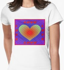 LOVE: Abstract Whimsical Heart Print Womens Fitted T-Shirt
