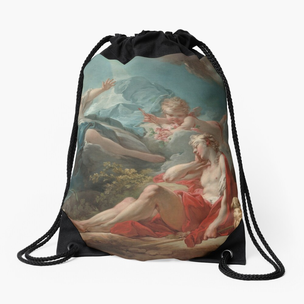 Diana and Endymion Oil Painting by Jean-Honoré Fragonard Drawstring Bag