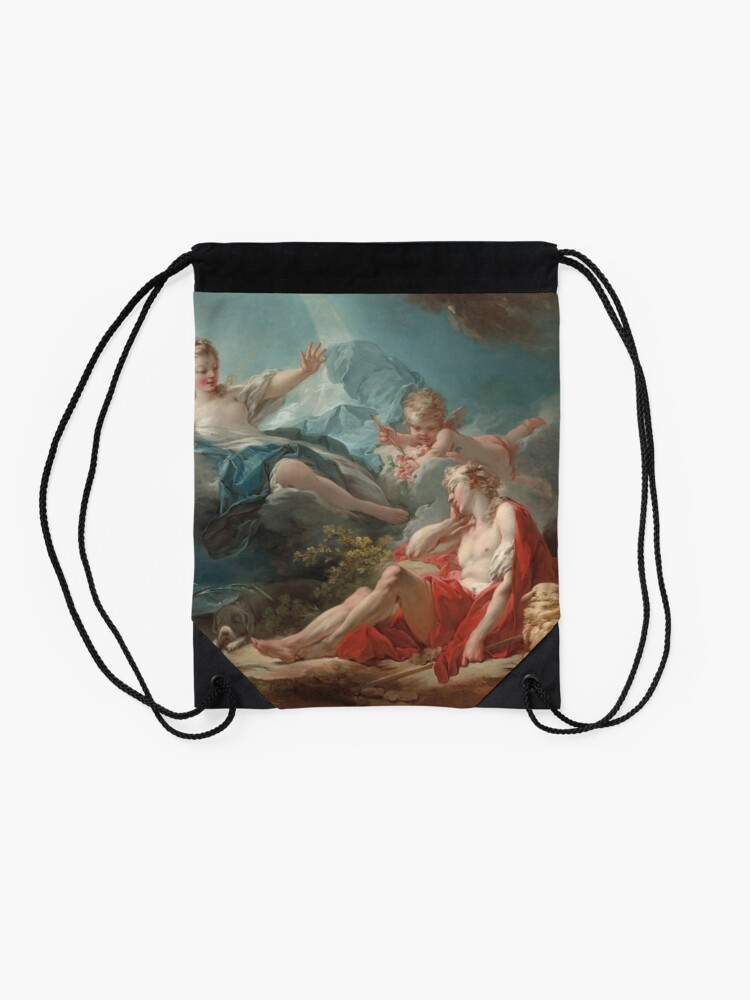 Alternate view of Diana and Endymion Oil Painting by Jean-Honoré Fragonard Drawstring Bag
